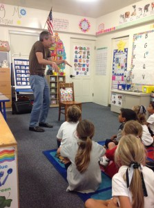 Michael Katz wows the kindergarteners and first graders.